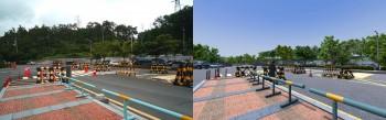 실제 고리 원전 앞 모습(왼쪽)과 VR화면 속 모습(오른쪽). - 안드로메다 스튜디오 제공